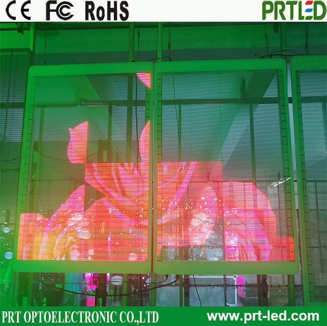 P3.91, P7.81 Full Color Transparent LED Display Panel for shop window advertising