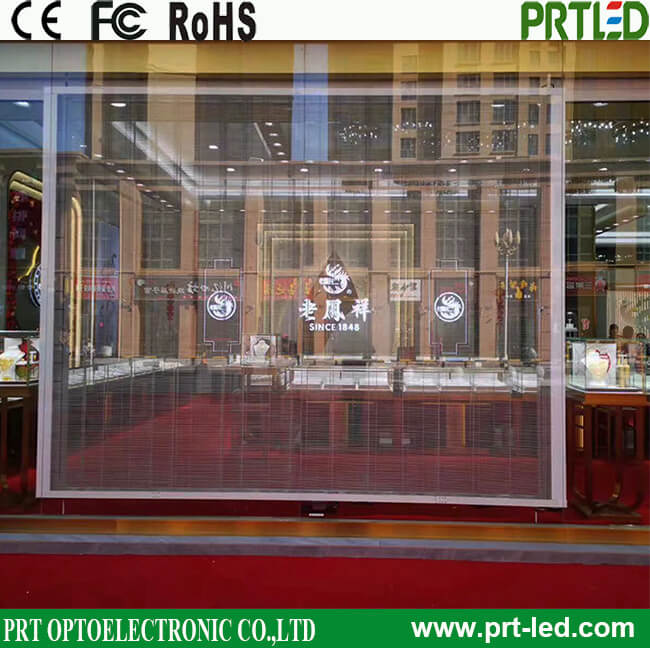 Higher transparency P3.91, P7.81 Full Color Glass LED Video Wall for shop window advertising